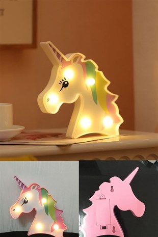 3D Unicorn Dekorlu Pilli Led Masa Ve Gece Lambası